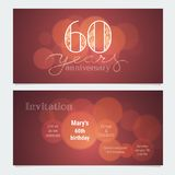 60 years anniversary invitation to celebration vector illustration. Graphic design element with bokeh effect for 60th birthday card, party invite Royalty Free Stock Photography