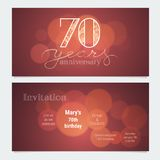 70 years anniversary invitation to celebration vector illustration. Graphic design element with bokeh effect for 70th birthday card, party invite royalty free illustration