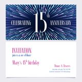 15 years anniversary invitation vector illustration, design element. 15 years anniversary invitation vector illustration. Design element with bright abstract royalty free illustration