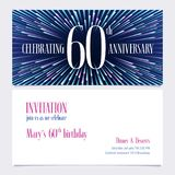 60 years anniversary invitation vector illustration, design element. 60 years anniversary invitation vector illustration. Design element with bright abstract Stock Illustration