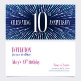 10 years anniversary invitation vector illustration, design element. 10 years anniversary invitation vector illustration. Design element with bright abstract royalty free illustration