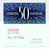 50 years anniversary invitation vector illustration, design element. 50 years anniversary invitation vector illustration. Design element with bright abstract stock illustration