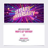 10 years anniversary invitation vector illustration. Graphic design element. With bright fireworks for 10th birthday card, party invite stock illustration