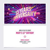 15 years anniversary invitation vector illustration. Graphic design element. With bright fireworks for 15th birthday card, party invite stock illustration