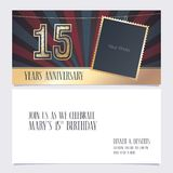 15 years anniversary invitation vector illustration. Graphic design element. With photo frame for 15th birthday card, party invite vector illustration