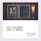 15 years anniversary invitation vector illustration. Graphic design template. With collage of empty photo for 15th anniversary party invite royalty free illustration