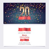 20 years anniversary invitation vector. Illustration. Graphic design template with golden number for 20th anniversary party or dinner invite Royalty Free Stock Photo
