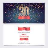 30 years anniversary invitation vector. Illustration. Graphic design template with golden number for 30th anniversary party or dinner invite Stock Photography