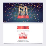 60 years anniversary invitation vector. Illustration. Graphic design template with golden number for 60th anniversary party or dinner invite stock illustration