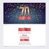 70 years anniversary invitation vector. Illustration. Graphic design template with golden number for 70th anniversary party or dinner invite Royalty Free Illustration