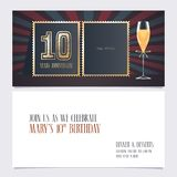 10 years anniversary invitation vector illustration. Graphic design template. With collage of empty photo for 10th anniversary party invite stock illustration