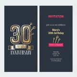 30 years anniversary invitation vector. 30 years anniversary invitation to celebration event vector illustration. Design with gold number and bodycopy for 30th Stock Photo