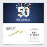 50 years anniversary invitation vector. 50 years anniversary invitation to celebrate the event vector illustration. Design template element with number and text Royalty Free Stock Photography