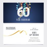 60 years anniversary invitation vector. 60 years anniversary invitation to celebrate the event vector illustration. Design template element with number and text Royalty Free Illustration