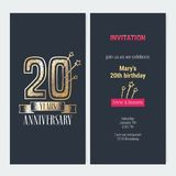 20 years anniversary invitation vector. 20 years anniversary invitation to celebration event vector illustration. Design with gold number and bodycopy for 20th Royalty Free Stock Images