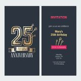 25 years anniversary invitation vector. 25 years anniversary invitation to celebration event vector illustration. Design with gold number and bodycopy for 25th Royalty Free Stock Photography