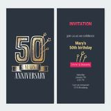 50 years anniversary invitation vector. 50 years anniversary invitation to celebration event vector illustration. Design with gold number and bodycopy for 50th vector illustration