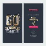 60 years anniversary invitation vector. 60 years anniversary invitation to celebration event vector illustration. Design with gold number and bodycopy for 60th Stock Photo
