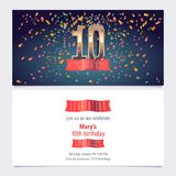 10 years anniversary invitation vector. Illustration. Graphic design template with golden number for 10th anniversary party or dinner invite royalty free illustration