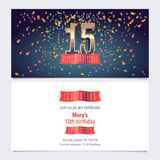 15 years anniversary invitation vector. Illustration. Graphic design template with golden number for 15th anniversary party or dinner invite stock illustration