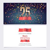 25 years anniversary invitation vector. Illustration. Graphic design template with golden number for 25th anniversary party or dinner invite Royalty Free Stock Images