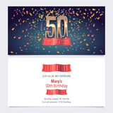 50 years anniversary invitation vector. Illustration. Graphic design template with golden number for 50th anniversary party or dinner invite Royalty Free Stock Images