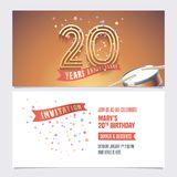 20 years anniversary invite vector illustration. Design element. For 20th birthday card, party invitation with festive background vector illustration