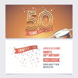 50 years anniversary invite vector illustration. Design element. For 50th birthday card, party invitation with festive background vector illustration