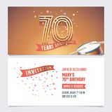 70 years anniversary invite vector illustration. Design element. For 70th birthday card, party invitation with festive background vector illustration