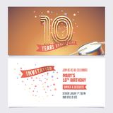 10 years anniversary invite vector illustration. Design element. For 10th birthday card, party invitation with festive background vector illustration