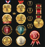 10 years Anniversary labels and badges Stock Images