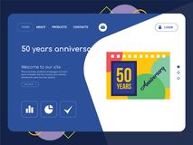 50 years anniversary Landing page website template design. Quality One Page 50 years anniversary Website Template Vector Eps, Modern Web Design with flat UI Royalty Free Stock Images