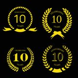 10 years anniversary laurel gold wreath, set Stock Photos
