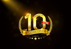 10 Years Anniversary with laurel wreath Golden Ribbon Stock Images