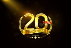 20 Years Anniversary with laurel wreath Golden Ribbon Stock Images