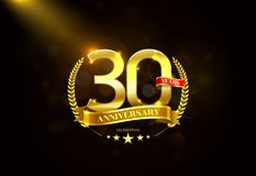 30 Years Anniversary with laurel wreath Golden Ribbon. Vector illustration Stock Photos