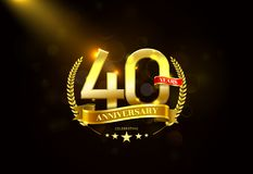 40 Years Anniversary with laurel wreath Golden Ribbon. Vector illustration Vector Illustration