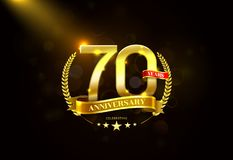 70 Years Anniversary with laurel wreath Golden Ribbon. Vector illustration stock illustration