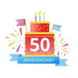 50 years anniversary linked logotype isolated on white backgroun. 50 years anniversary linked logotype with fireworks and cake isolated on white background for royalty free illustration