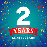 2 years anniversary logo celebration card. 2th years anniversary vector background with red ribbon and colored confetti on blue flash radial lines Vector Illustration