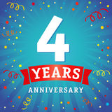 4 years anniversary logo celebration card. 4th years anniversary vector background with red ribbon and colored confetti on blue flash radial lines Royalty Free Stock Images