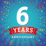 6 years anniversary logo celebration card. 6th years anniversary vector background with red ribbon and colored confetti on blue flash radial lines Stock Illustration