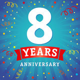8 years anniversary logo celebration card. 8th years anniversary vector background with red ribbon and colored confetti on blue flash radial lines vector illustration