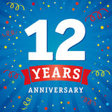 12 years anniversary logo celebration card. 12th years anniversary vector background with red ribbon and colored confetti on blue flash radial lines stock illustration