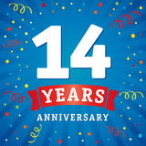 14 years anniversary logo celebration card. 14th years anniversary vector background with red ribbon and colored confetti on blue flash radial lines Stock Photo