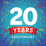 20 years anniversary logo celebration card. 20th years anniversary vector background with red ribbon and colored confetti on blue flash radial lines Vector Illustration