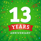 13 years anniversary logo celebration card. 13th years anniversary vector background with red ribbon and colored confetti on green flash radial lines Stock Illustration