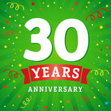 30 years anniversary logo celebration card. 30th years anniversary vector background with red ribbon and colored confetti on green flash radial lines Royalty Free Stock Images