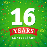 16 years anniversary logo celebration card. 16th years anniversary vector background with red ribbon and colored confetti on green flash radial lines Stock Photography