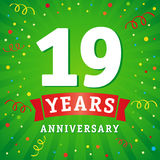 19 years anniversary logo celebration card. 19th years anniversary vector background with red ribbon and colored confetti on green flash radial lines Vector Illustration